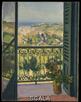 Marquet, Albert (1875-1947) View from a Balcony. 1945. Oil on canvas, H. 25-5/8, W. 19-3/4 inches (65.1 x 50.2 cm.). Partial and Promised Gift of Mr. and Mrs. Douglas Dillon, 1998 (1998.412.2). PERMISSION TO USE THE IMAGE MUST BE OBTAINED PRIOR TO RELEASE!
