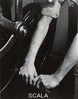 Cunningham, Imogen (1883-1976) Hands of Roi Partridge on Etcher's Press, 1932. Gelatin silver print, 9 9/16 × 7 1/2