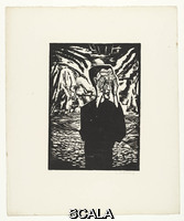 Heckel, Erich (1883-1970) Man on a Plain (Mann in der Ebene), from the portfolio 'Eleven Woodcuts, 1912-1919' (Elf Holzschnitte, 1912-1919), 1917 (published 1921). Woodcut, composition: 14 15/16 x 10 11/16