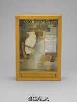 Cornell, Joseph (1903-1972) Untitled (Hotel Beau-Séjour), c. 1954. Wood box with glass and drawer, containing branch driftwood, mirror, metal ring, rod, cork ball, and printed papers, 17 3/4 x 12 1/4 x 4 1/2
