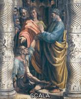 Raffaello (1483-1520) La guarigione dello storpio - particolare, dalla serie di cartoni per arazzi commissionati da Papa Leone X. Urbino, Italia, 1515-1516. Tempera su carta montata su tela. Inv.: ROYAL LOANS.4