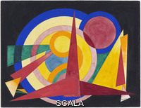 Herbin, Auguste (1882-1960) Composition (1941). Gouache on paper, 10 x 13 in. (25.4 x 33 cm). The Riklis Collection of McCrory Corporation. Acc. no.: 895.1983