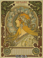 Mucha, Alphonse (1860-1939) French poster in the form of an almanac for 1898, advertising a bi-monthly illustrated periodical published by the Salon des Cent. Signed 'Mucha'. Height: 64.77cm, Width: 48.26cm. Inv.: E.589-1953