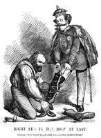 ******** Giuseppe Garibaldi helping Victor Emmanuel II put on the boot of Italy, 1860.
