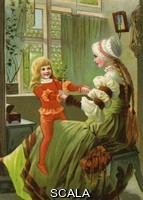 ******** Drottning Blanca (Queen Shiny) A game played by mother and son, after famous painting (1877) of the same name by Albert Edelfelt Artist:  Jenny Nystrom circa 1902