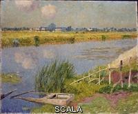 ******** Claus, Emile (1849-1924). The Lily Banks; Bords de la Lys. Emile Claus (1849-1924). Oil on canvas. Dated 1912. 60 x 77cm.