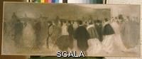 ******** Carriere, Eugene (1849-1906). La Sortie du Theatre. Eugene Carriere (1849-1906). Oil on canvas.