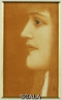 ******** Khnopff, Fernand (1858-1921). Profile of a Woman; Femme en Profil. Fernand Khnopff (1858-1921). Coloured crayons on paper. Dated circa 1910.