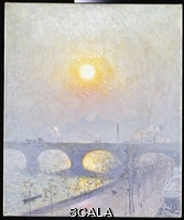 ******** Claus, Emile (1849-1924). Sunset over Waterloo Bridge. Emile Claus (1849-1924). Oil on canvas. Painted in 1916. 76.2 x 63.5cm.