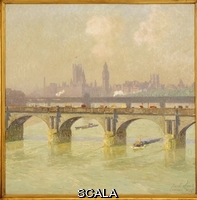 ******** Claus, Emile (1849-1924). Waterloo Bridge and Hungerford Bridge with the Houses of Parliament Beyond. Emile Claus (1849-1924). Oil on canvas. Painted in 1916.