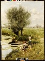 ******** Claus, Emile (1849-1924). By the Riverside. Emile Claus (1849-1924). Oil on canvas. 115.6 x 83.9cm.