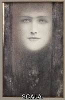 ******** Khnopff, Fernand (1858-1921). The Mask, with a Black Curtain; Le Masque au Rideau Noir. Fernand Khnopff (1858-1921). Coloured chalks heightened with white on paper. Executed circa 1909. 27 x 17cm