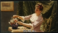 ******** Claus, Emile (1849-1924). A Young Woman Arranging Flowers. Emile Claus (1849-1924). Oil on panel.