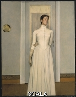 ******** Khnopff, Fernand (1858-1921). Portrait of Marguerite, the Sister of the Artist. Fernand Khnopff (1858 1921). Oil on canvas laid down on panel. Executed in 1887. 97.2 x 75.5cm.