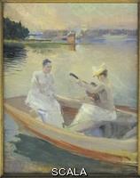 ******** Edelfeldt, Albert (1854-1905). Summer Evening, Borga Harbour. Albert Edelfelt (1854-1905).  Oil on canvas. Dated 1889.