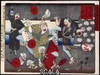 Japanese art Skin Fomi Nan : Marchand de Soba (nouilles de sarrasin) et aveugle. 1869