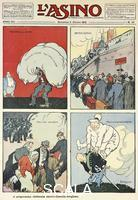 ******** The clerical-bourgeois-liberal electoral program, satirical cartoon from L'Asino magazine, October 5, 1913. Italy, 20th century.