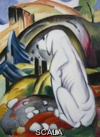 ******** The Dog in Front of the World, 1912'. The Dog in Front of the World, 1912' - white dog sitting in landscape with hills and trees etc. Oil Painting by Franz Marc (1880-1916)