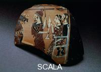 Greek art Fragment of Ionic hydria with king and queen and heralds
