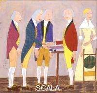 Johnson, William H. (1901-1970) George Washington firma la Dichiarazione d'Indipendenza, 1942-43 ca