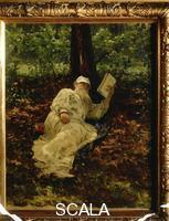 Repin, Ilya (1844-1930) Tolstoy Reading in the Wood