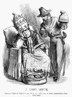 Tenniel, John (1820-1914) Cartoon from 'Punch': Giuseppe Garibaldi trying to persuade Pope Pius IX, 1860