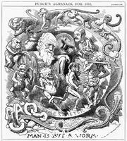 ******** 'Man is but a Worm', cartoon from 'Punch' showing evolution from worm to man, 1881.