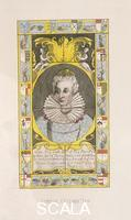 ******** Queen Elizabeth I, 1705. Portrait of Queen Elizabeth I from a stained glass window in St Mary's, Battersea