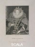 Dean T. A. (att. 1773-1830) la regina Elisabetta I in ermellino, 1821. Ritratto della regina Elisabetta l in abito riccamente ricamato con gorgiera. Sopra le maniche si stende una pelliccia di ermellino