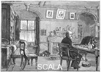 ******** Charles Darwin, English naturalist, in his study, c1870 (1887).