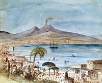 Mendelssohn Bartholdy, Felix (1809-1847) Watercolour of Mount Vesuvious by Felix Mendelssohn from a picture book for his son Paul.