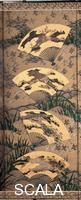 Motonobu, Kano (c. 1476-1559) Tsukinami fuzokuzu senmen nagashi byobu (Genre scenes of the twelve months). Six-panel folding screen (January to June), 16th cent. - detail.