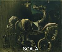 Dali', Salvador (1904-1989) Rottami di automobile che danno vita a un cavallo cieco che morde un telefono, 1938