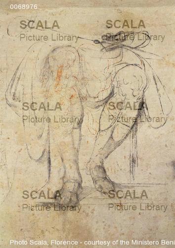 Michelangelo (Buonarroti, Michelangelo 1475-1564) Studio di gambe per la tomba di Giuliano duca di Nemours, 1530
