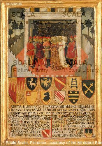 Sano di Pietro (1406-1481) Tavoletta di Biccherna: nozze gentilizie