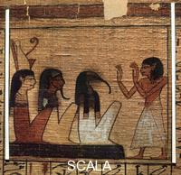 Egyptian art A vignette from the Book of the Dead of Neferrenpet: 'Spell for the recognition of the spirits of Hermopolis'. The local ibis-headed god of wisdom Thot appears in the middle. Thebes, 1295-1186 BCE (19th dynasty)